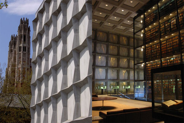 outside and inside the beinecke