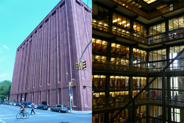 the outside and inside of bobst library at nyu